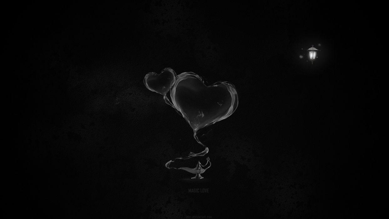 abstract black minimalistic lamps magic hearts black background wallpaper