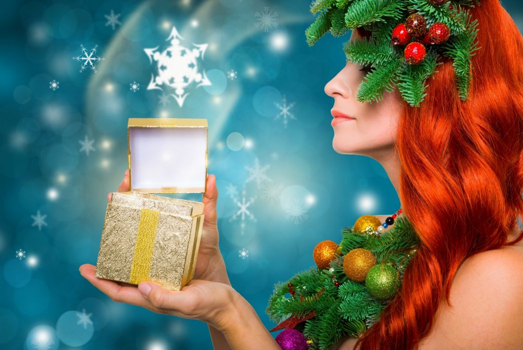 gift box twigs beads jewelry red-haired wallpaper