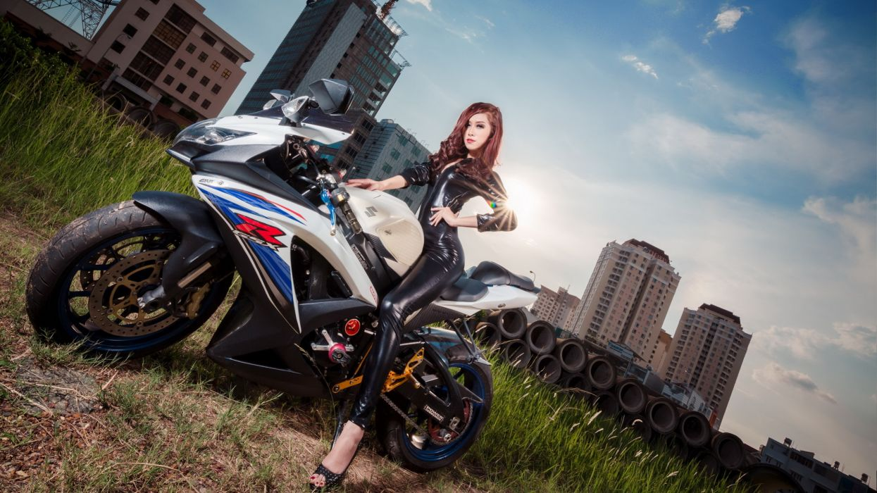 jumpsuit asian latex Suzuki motorcycle wallpaper