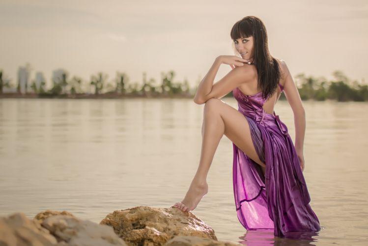 Natalia Kudriashova dress leg river wallpaper
