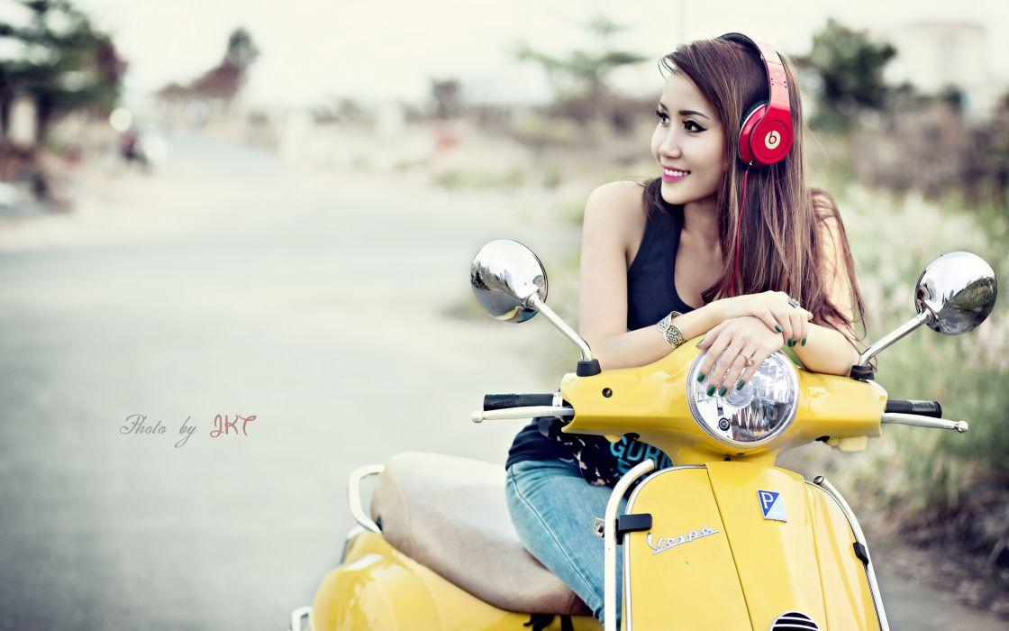 scooter Vespa Asian headphones wallpaper