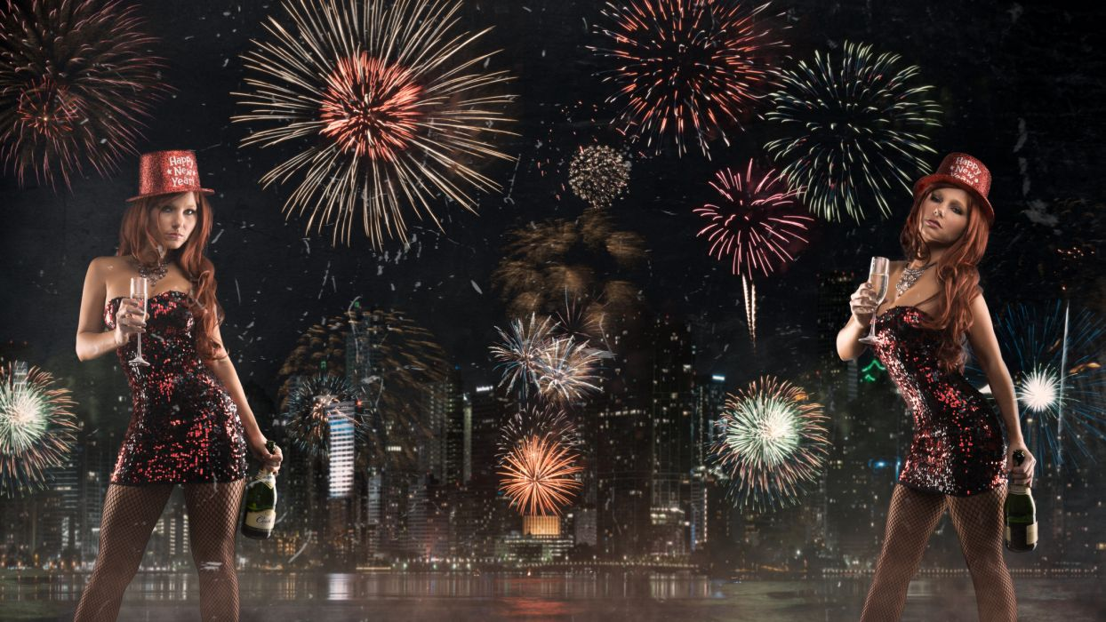 Tancy Marie New Year fireworks night city a bottle of champagne wallpaper