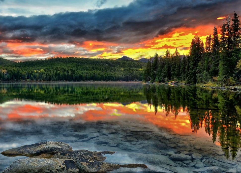Alberta Canada lake sunset reflection forest bottom landscape wallpaper