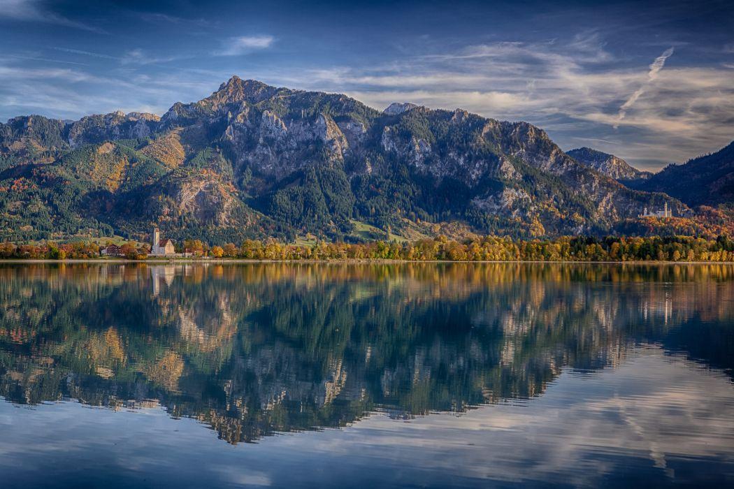 Alps Neuschwanstein Castle mountains reflection wallpaper