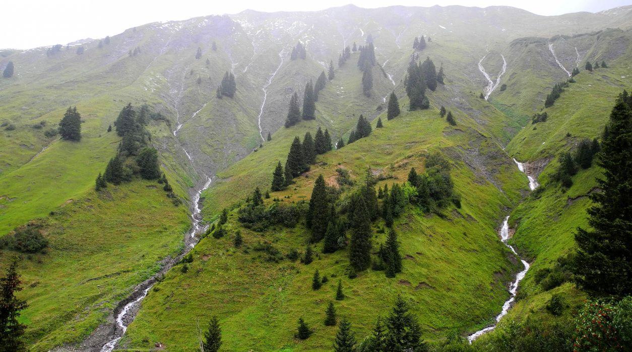Austrian Alps mountains trees streams landscape wallpaper