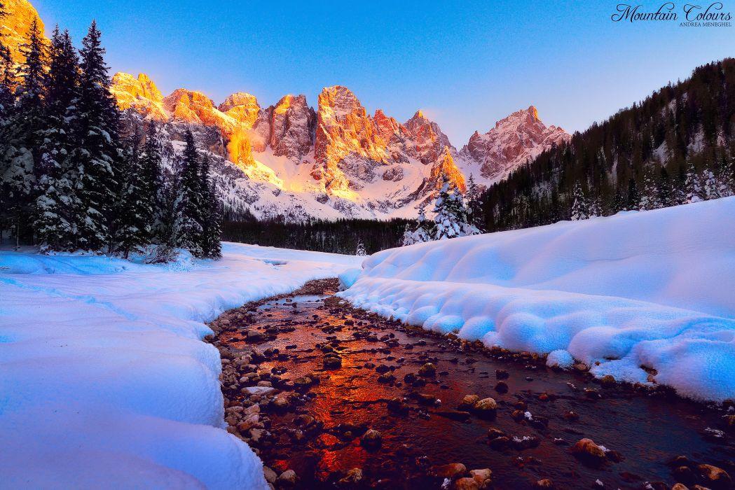 Dolomites light tops mountains wallpaper