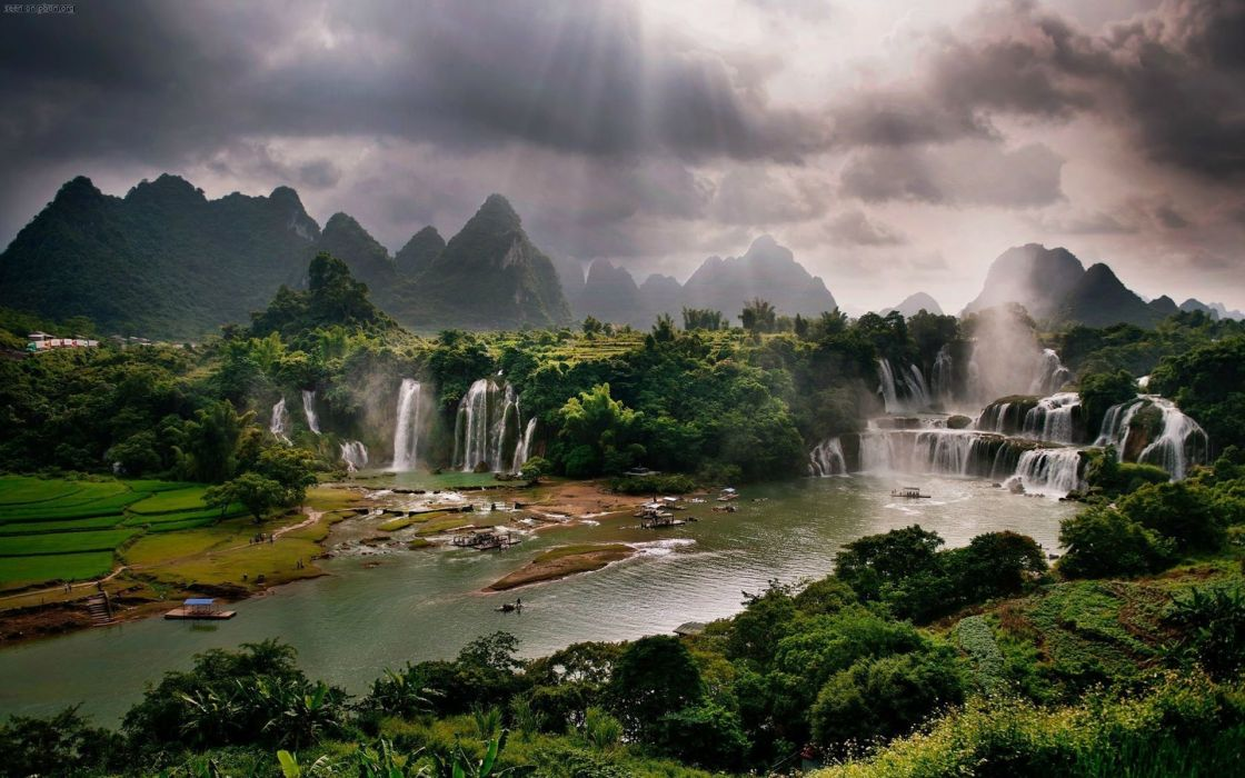 mountains waterfalls people nature clouds wallpaper
