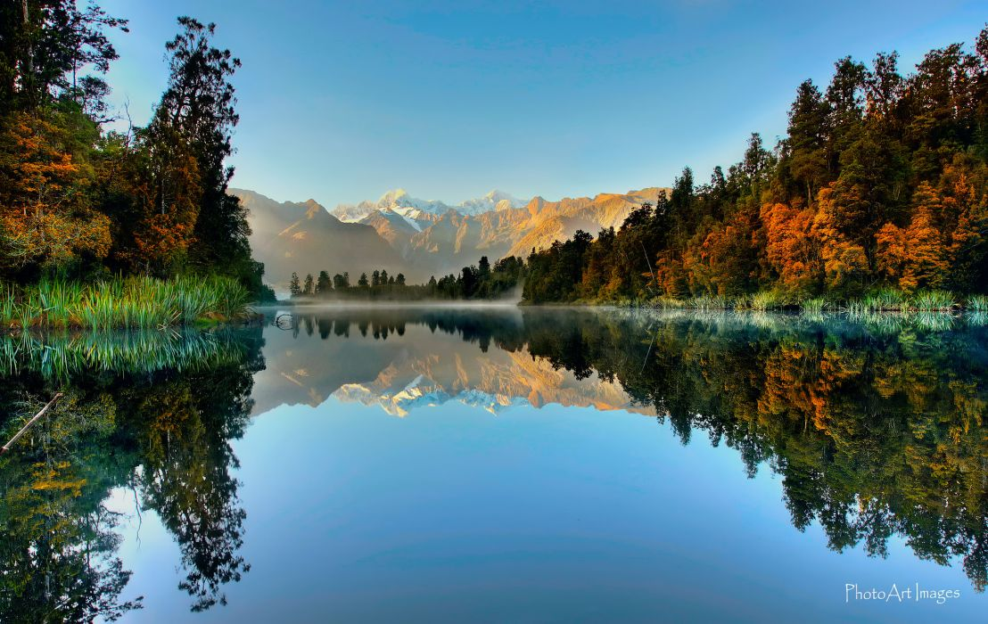 new zealand south island autumn river lake reflection wallpaper