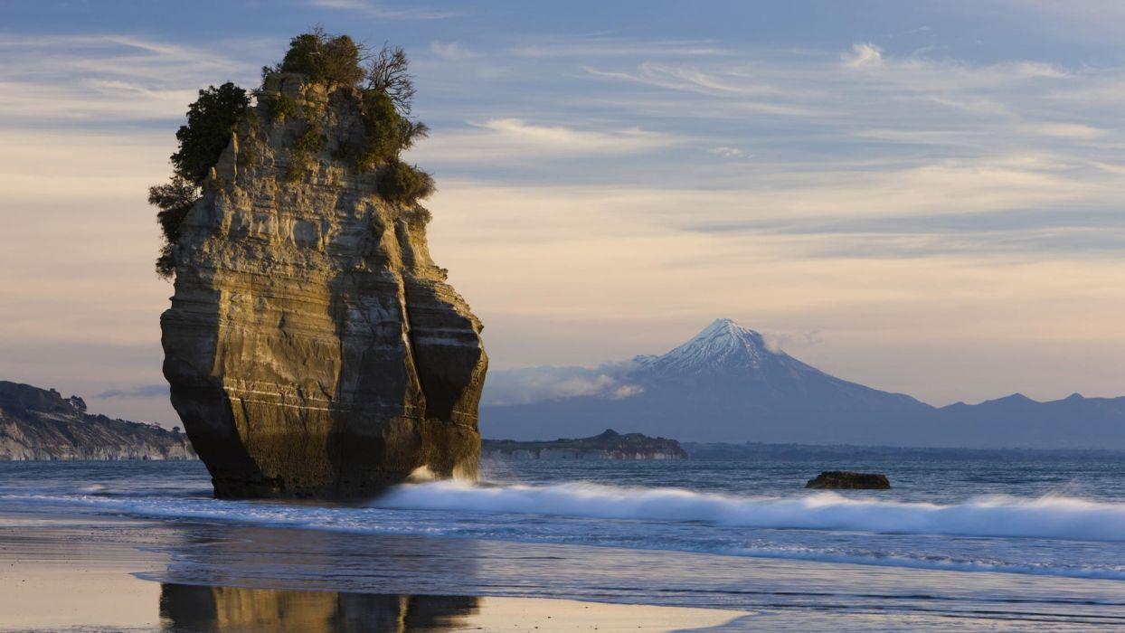 stone mountain beach bush sea wallpaper