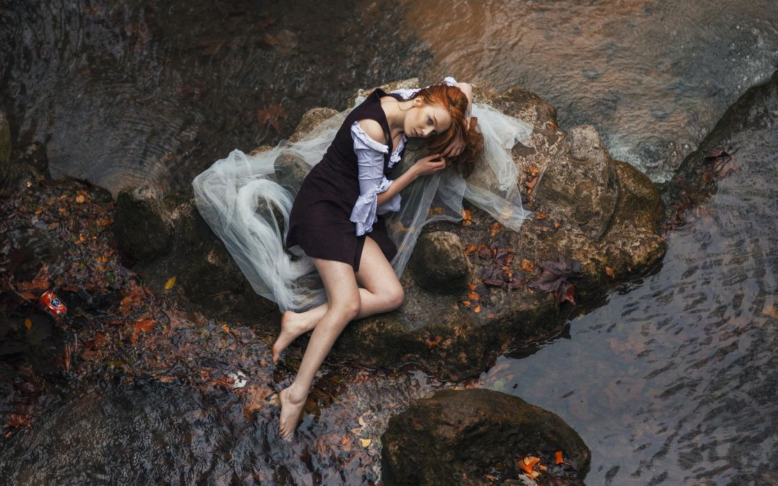 stones girl river mood wallpaper