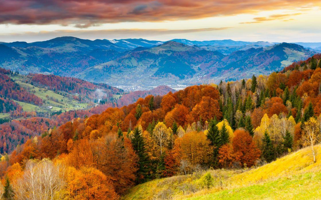 sunset sky winter mountains beautiful trees landscape clouds autumn wallpaper