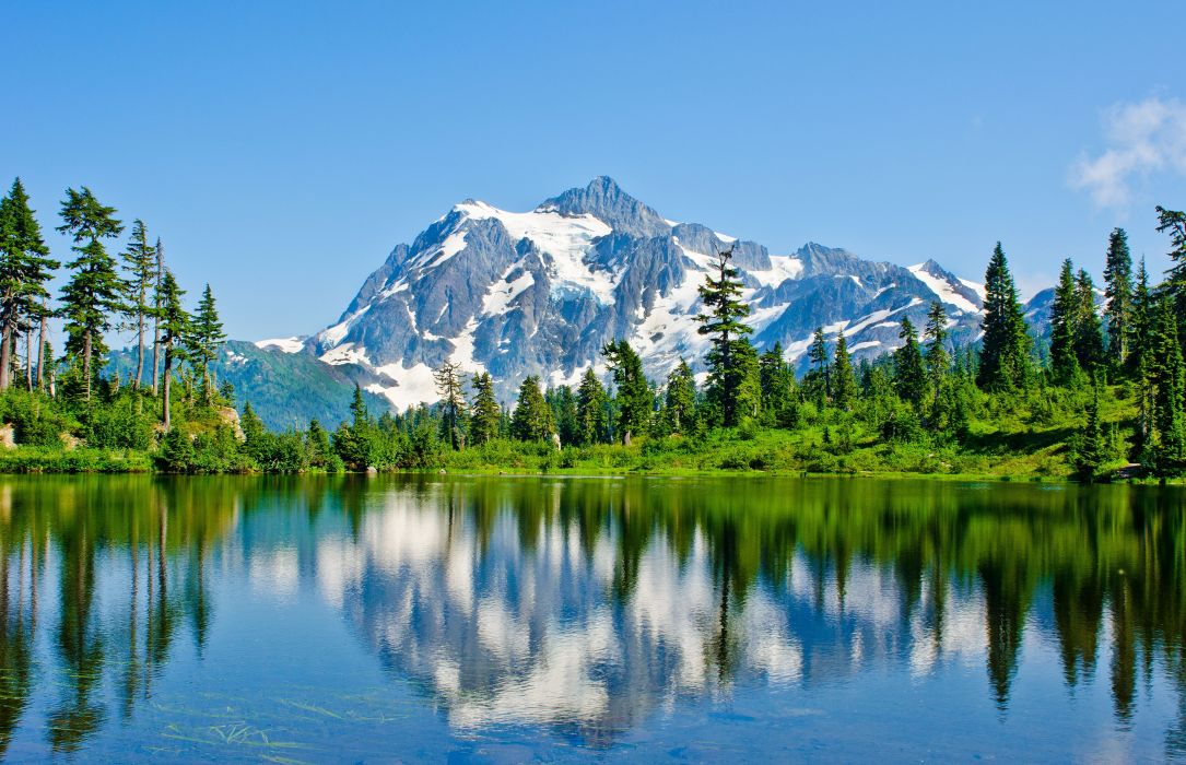 Washington lake mountains trees landscape wallpaper