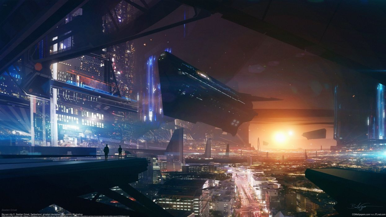 Bastien Grivet city future panorama sunset spaceship wallpaper