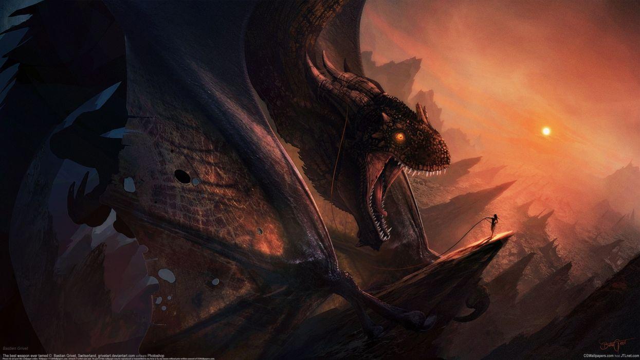 Bastien Grivet dragon girl wallpaper