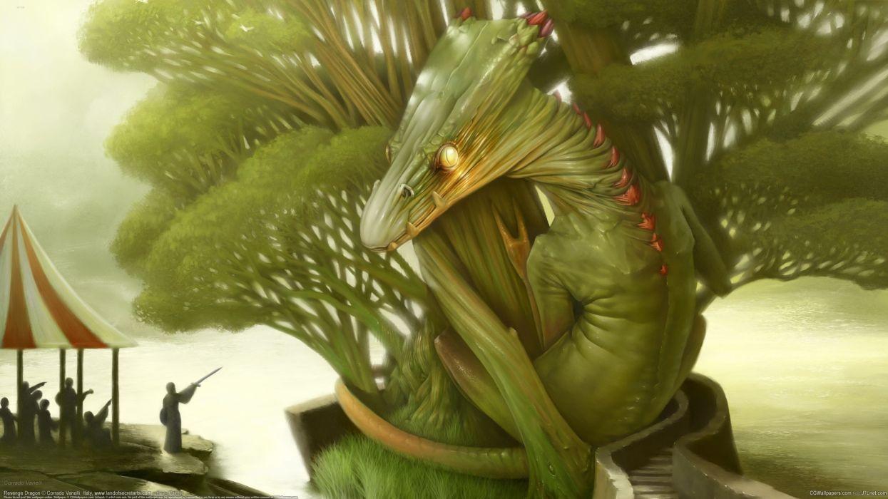 Corrado Vanelli dragon lizard people tree wallpaper