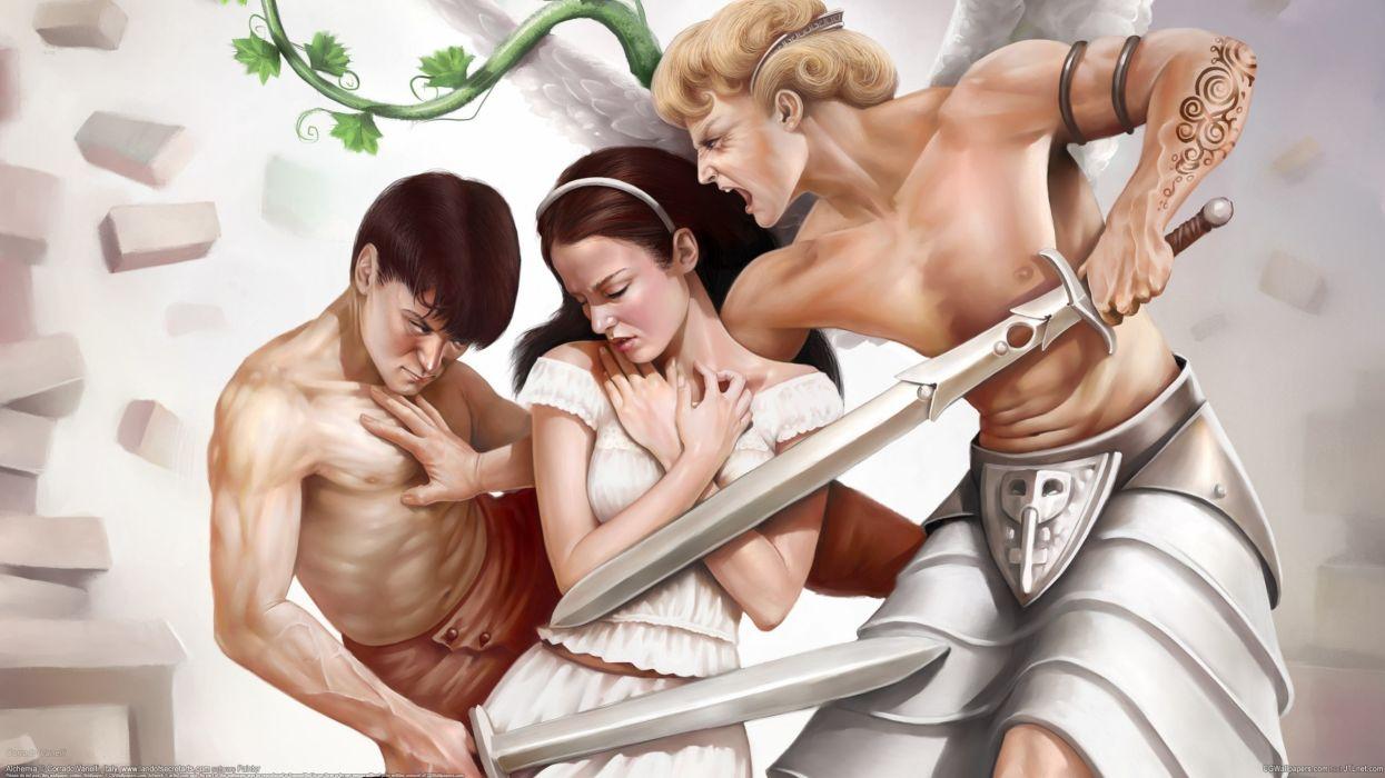 Corrado Vanelli girl boys swords competition people warrior sword mood wallpaper