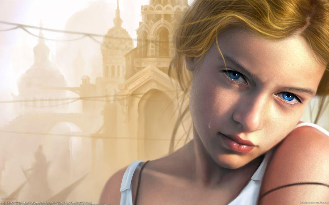 Corrado Vanelli girl tear glance mood     f wallpaper