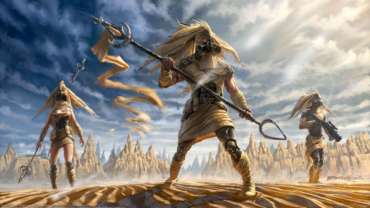 Federico Musett people desert warrior wallpaper