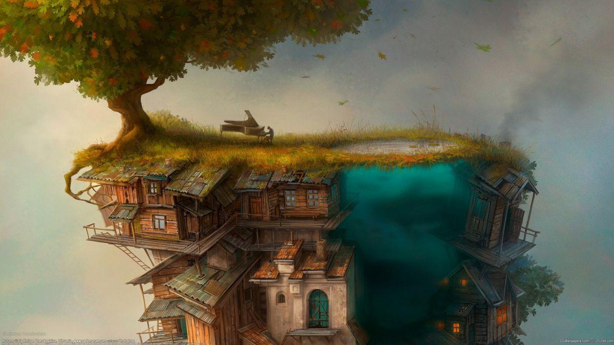 Gediminas Pranckevicius house tree piano wallpaper