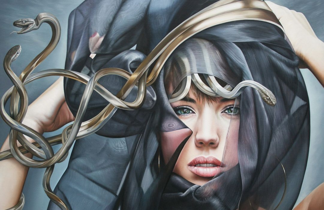 girl snakes medusa       f wallpaper