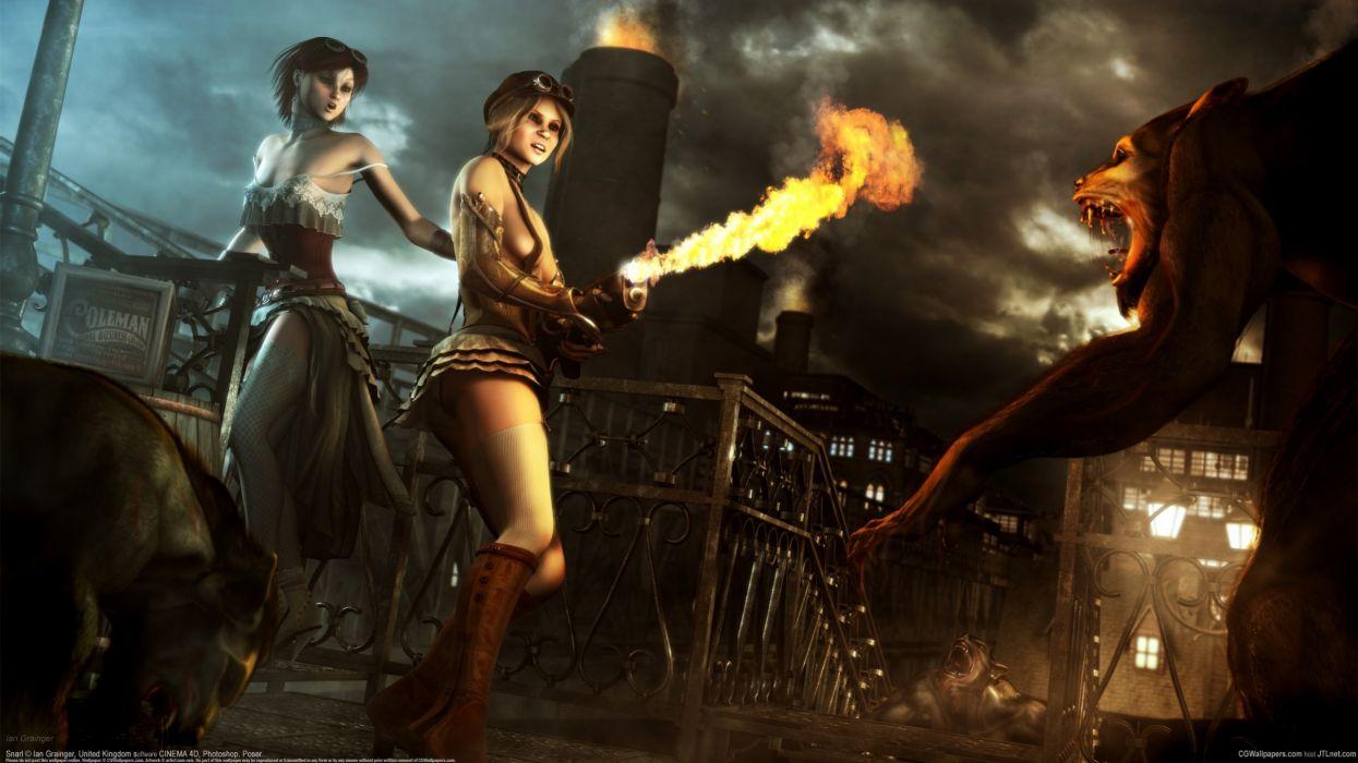 Ian Grainger girls monsters werewolve flamethrower wolf wolves wallpaper