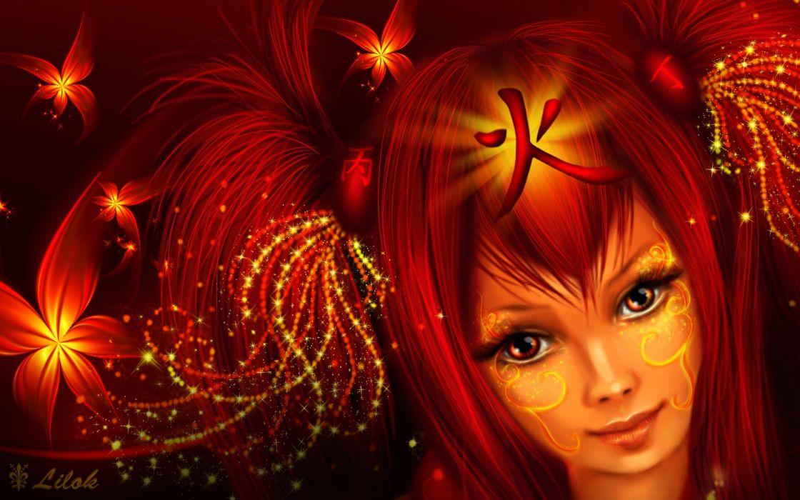 tattoos women fantasy redheads fantasy art glowing hair ornaments red flowers wallpaper