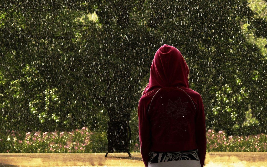 rain outdoors plants hoodies wallpaper