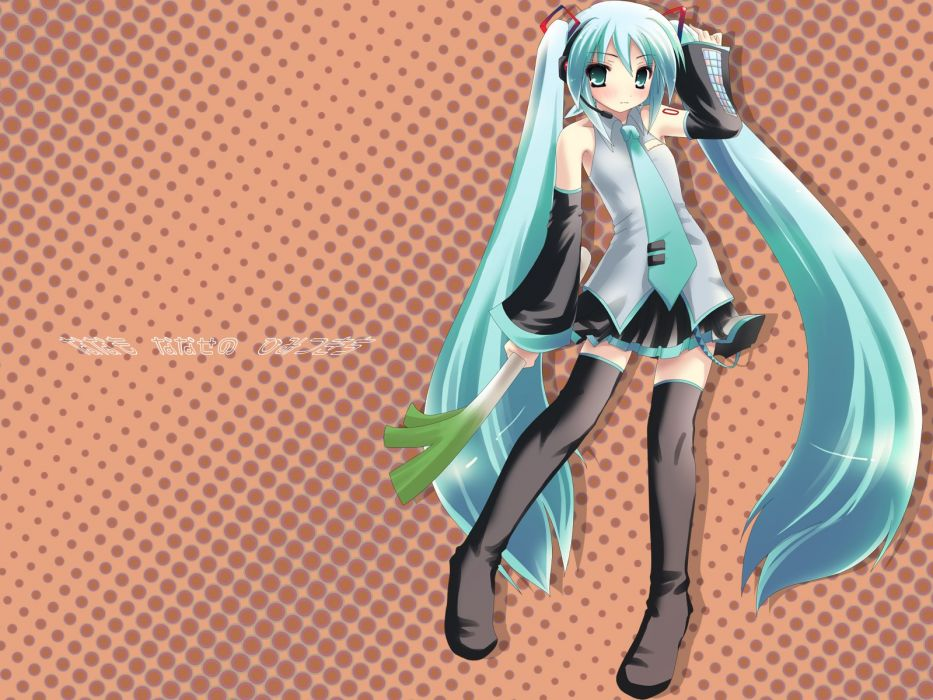 Vocaloid Hatsune Miku twintails detached sleeves wallpaper