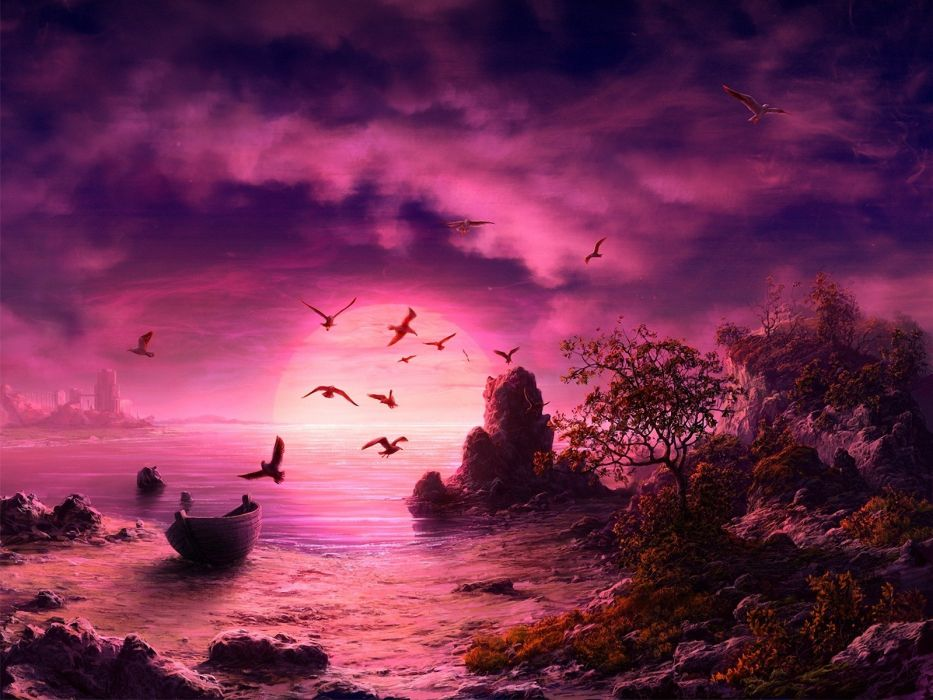 sunset birds ships rocks digital art sea wallpaper