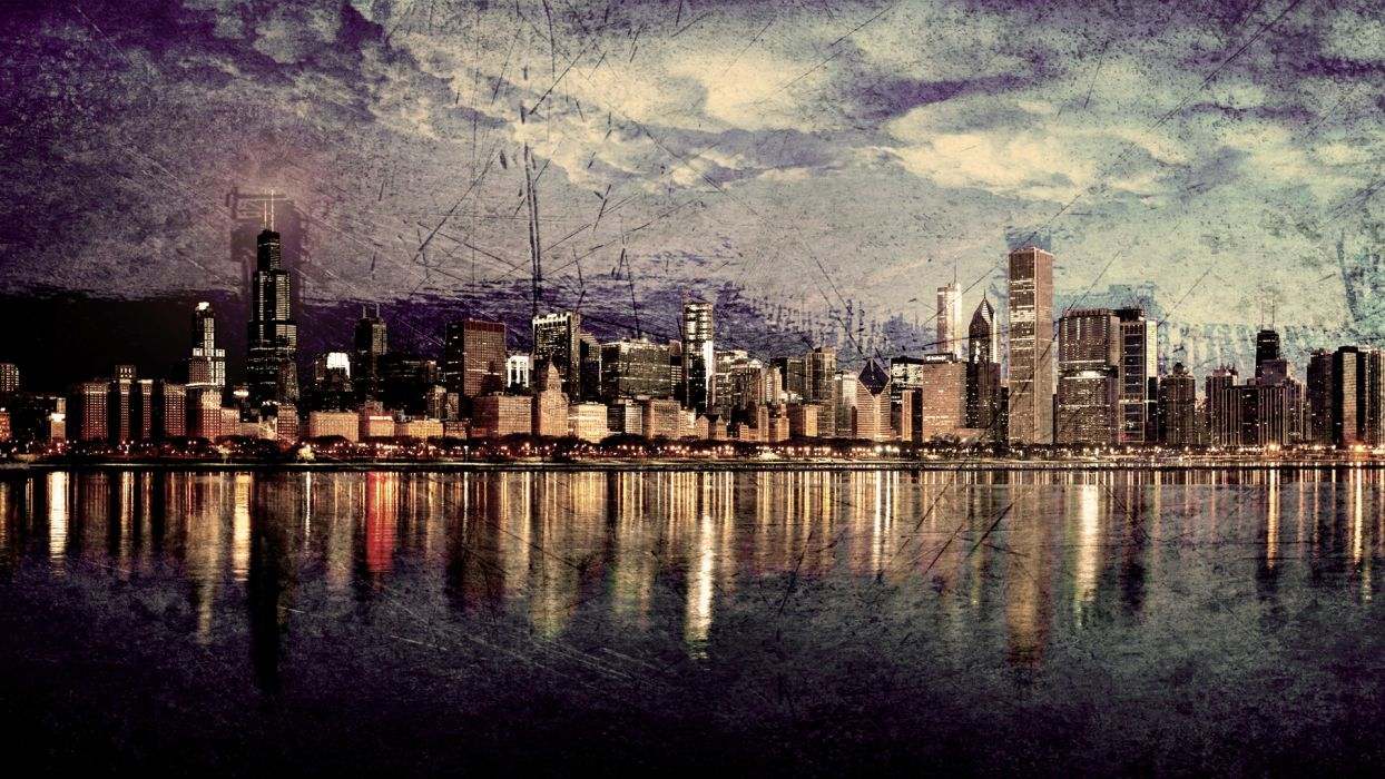 cityscapes skylines Chicago HDR photography wallpaper