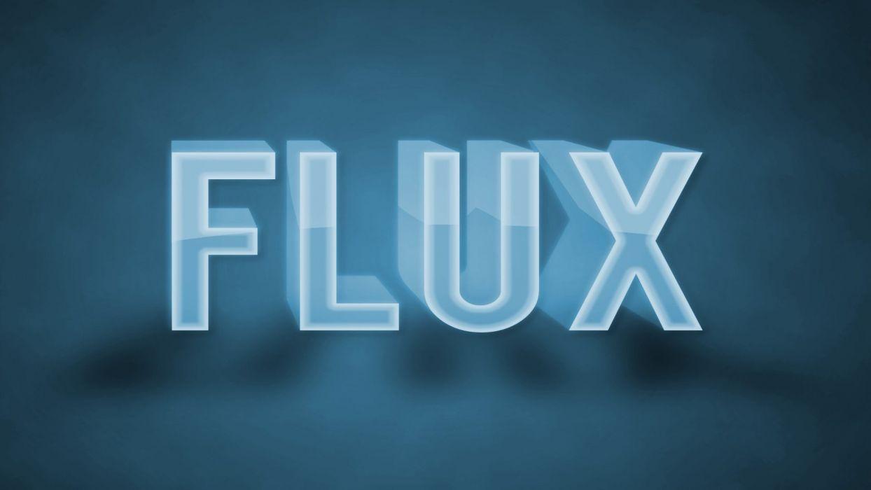 blue text Flux light blue wallpaper