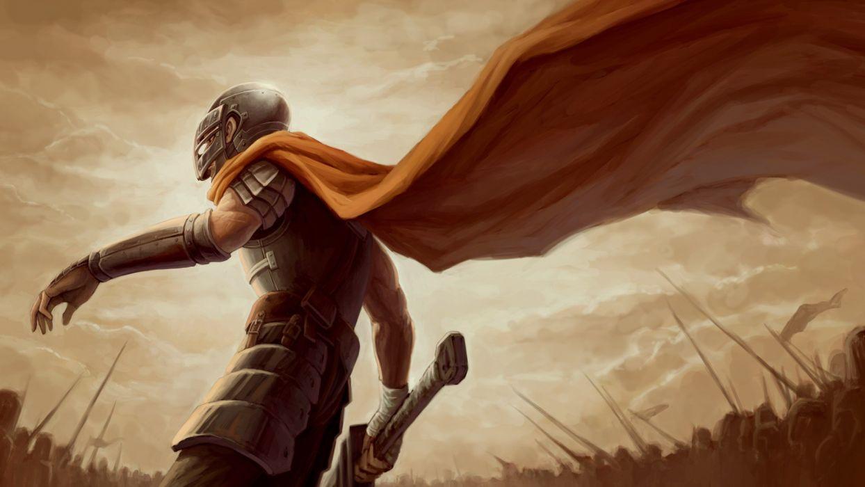 army Berserk fantasy art armor battles cloaks warriors mercenaries helmets swords Band of the Hawk Gatsu wallpaper