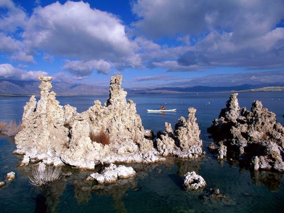 clouds California boats lakes rock formations Mono Lake wallpaper