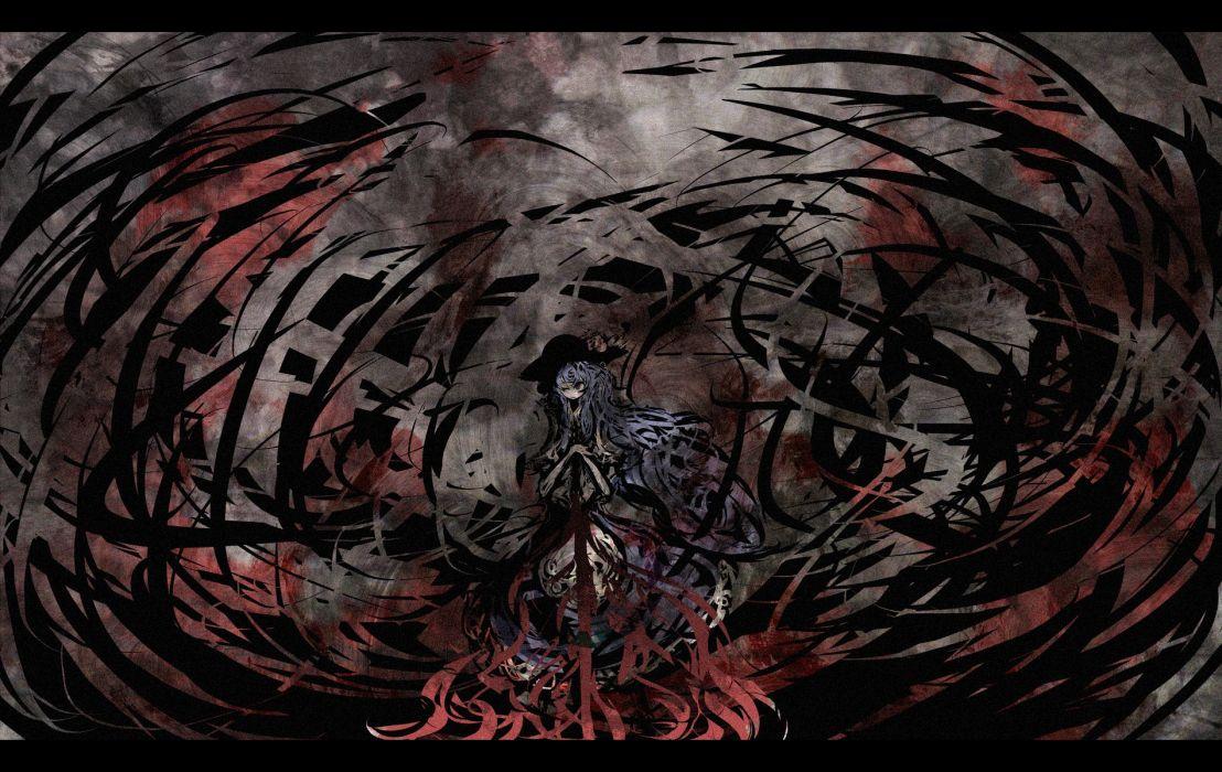 Touhou long hair blue hair red eyes Hinanawi Tenshi hats wallpaper
