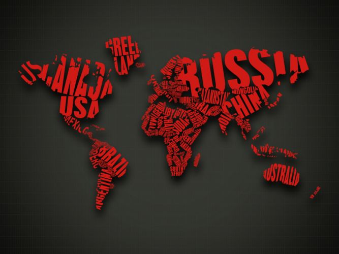 abstract red text CGI typography world map wallpaper
