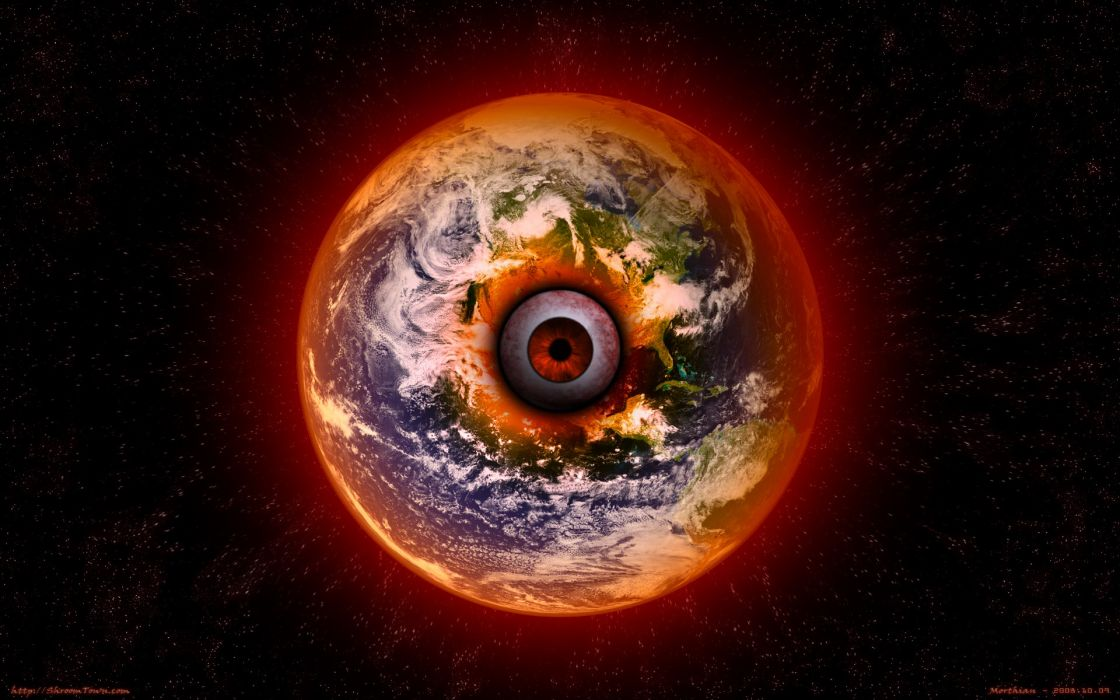 creepy eyes outer space Earth surreal all seeing eye wallpaper