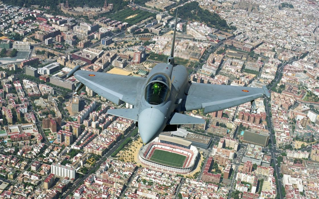 Eurofighter Typhoon jet aircraft aerial photography wallpaper