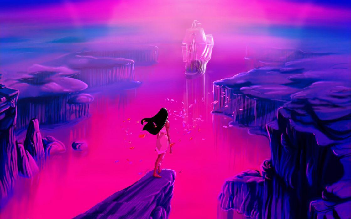 ocean Disney Company leaves ships rocks Pocahontas artwork Disney Princesses wallpaper