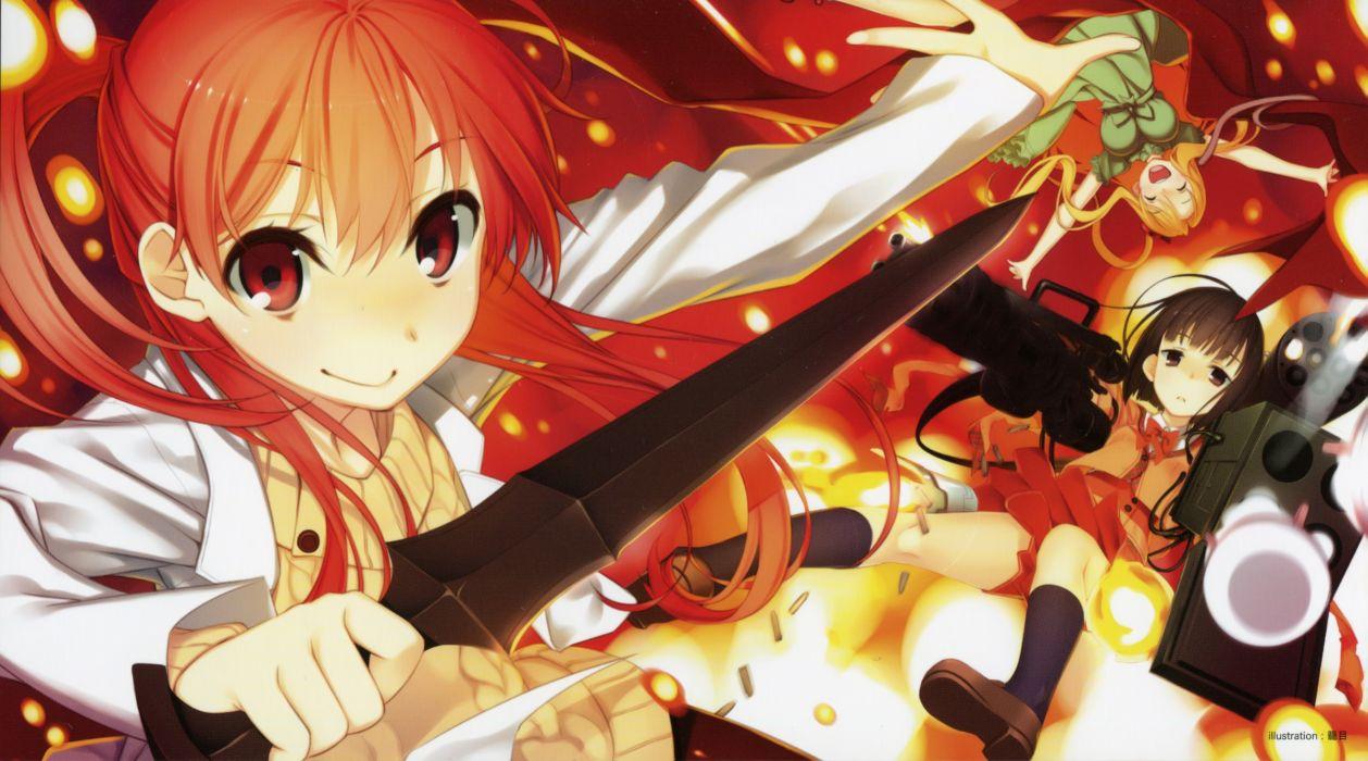 brunettes blondes guns redheads school uniforms weapons red eyes kagome anime anime girls swords scans Sasami-san@Ganbaranai Yagami Tama Yagami Tsurugi Yagami Kagami wallpaper