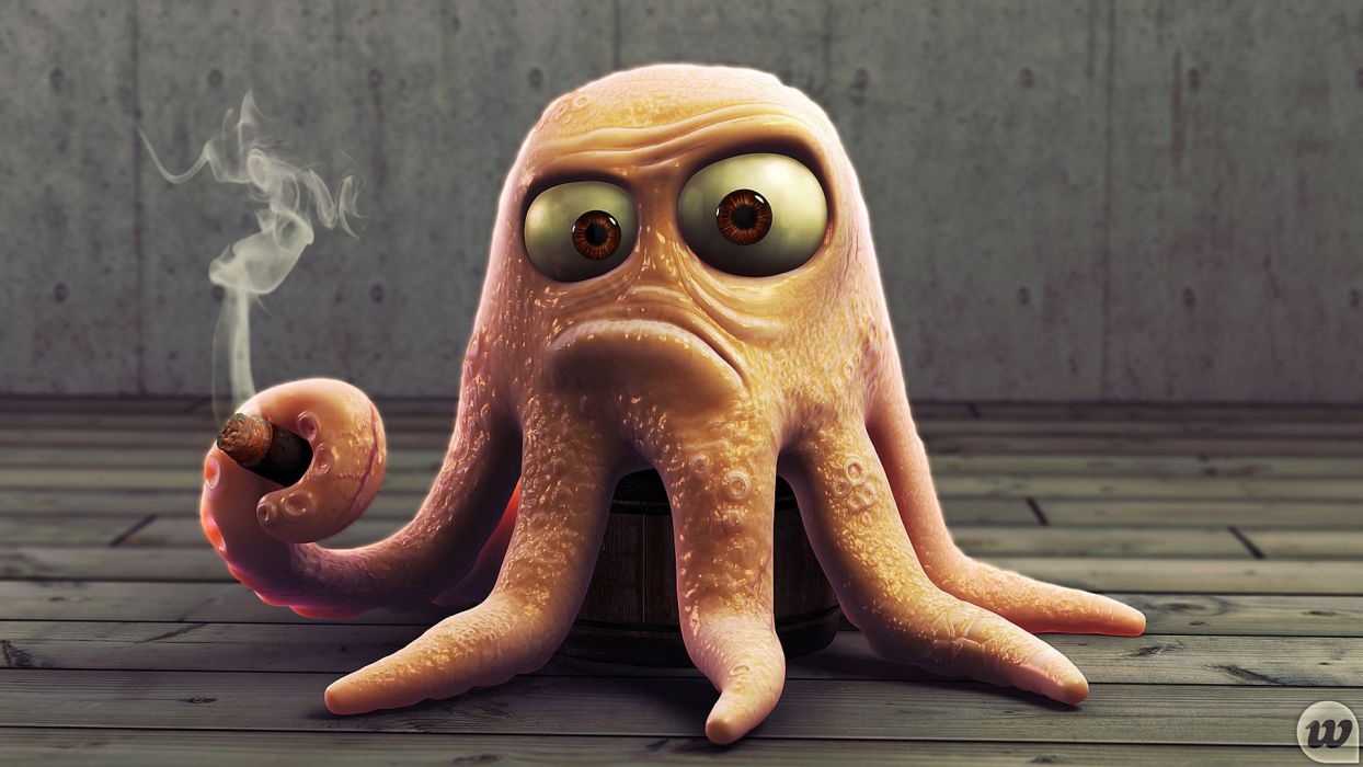 octopuses blender 3D modeling wallpaper