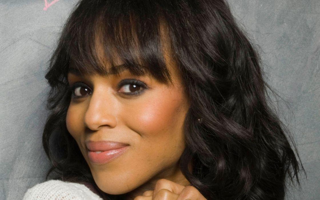 brunettes women close-up eyes black people celebrity brown eyes actors faces bangs Kerry Washington wallpaper