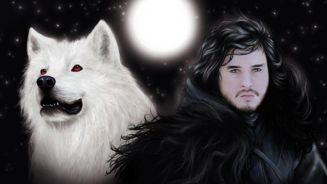 artwork Game of Thrones Jon Snow wolves wallpaper