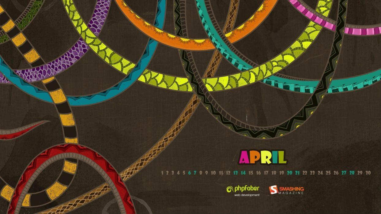 multicolor patterns calendar artwork arena April Smashing magazine brown background wallpaper
