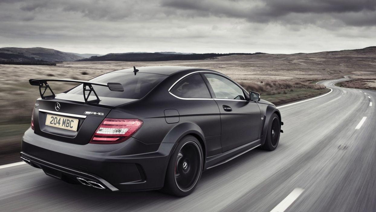 black cars roads automotive royal  respect Mercedes-Benz black series Mercedes C 63 AMG Mercedes Benz C63 Black Series automobiles mercedes benz c63 black series coupe wallpaper
