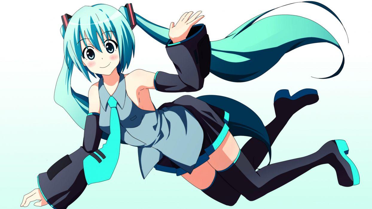 Vocaloid Hatsune Miku simple background anime girls detached sleeves wallpaper