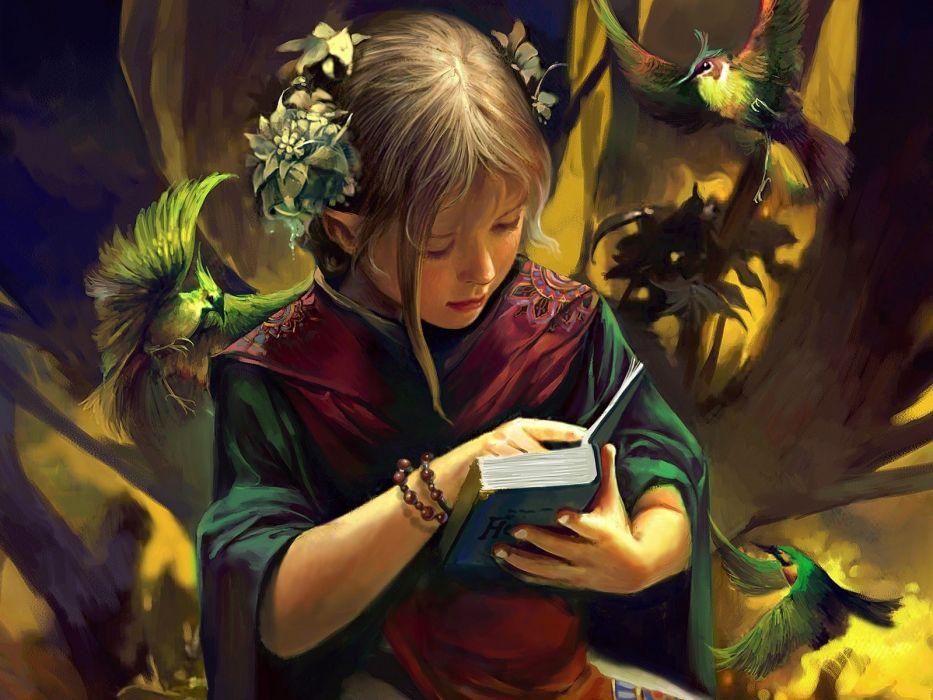 reading artwork wallpaper