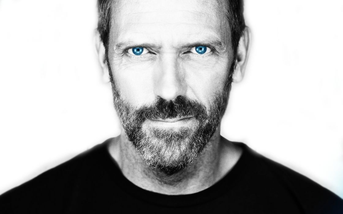 blue eyes Hugh Laurie Gregory House selective coloring faces wallpaper