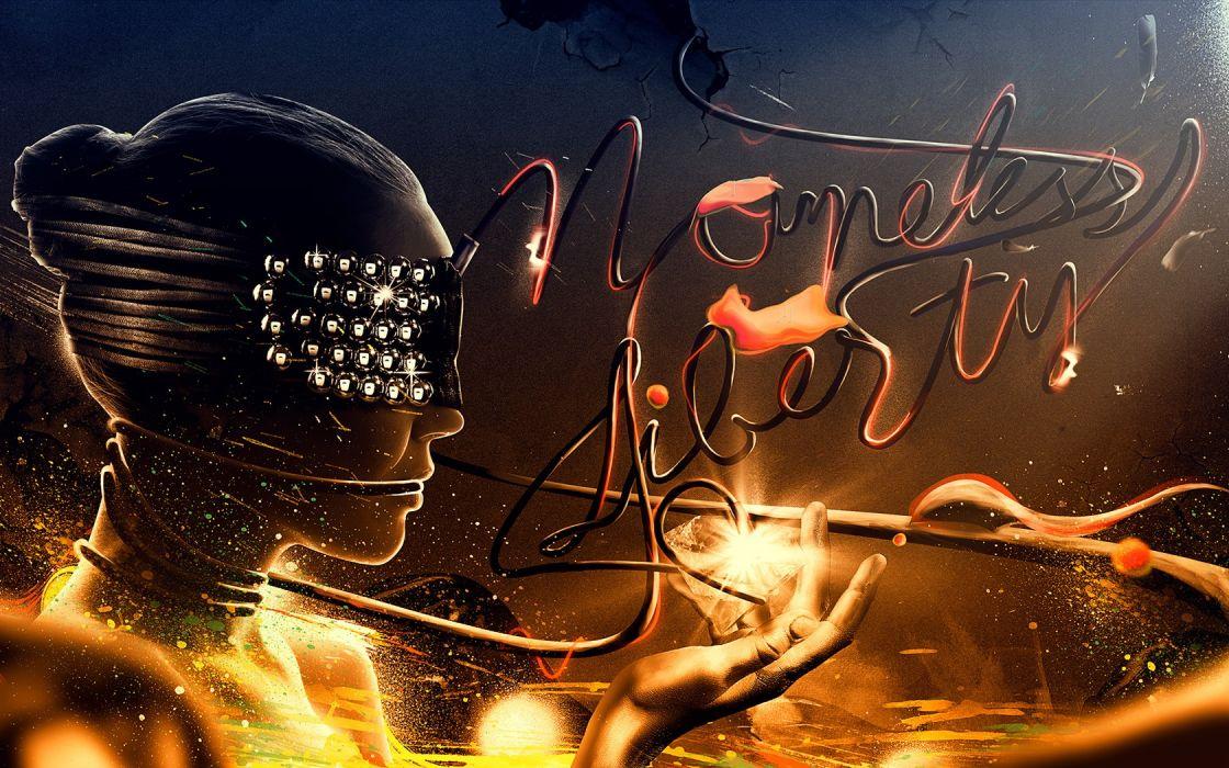 women abstract digital art fire girl wallpaper