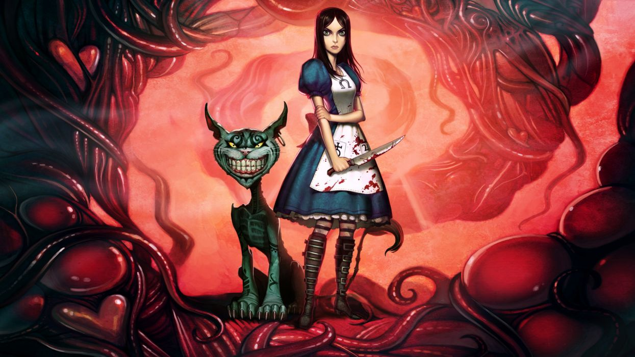 video games Alice concept art Alice: Madness Returns Cheshire Cat madness American McGees Alice striped legwear wallpaper