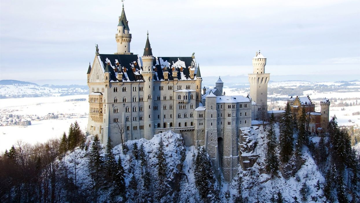 landscapes winter snow castles architecture buildings Bavaria castle wallpaper
